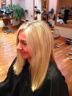 Before medium length hair to a thicker fuller shoulder bob.