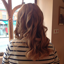 Coloured and styled hair at the hair and beauty centre marple. Back angle