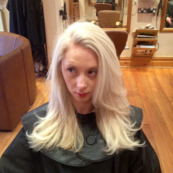 Full head foils back to back and a silver reflessi toner to achieve this gorgeous, clean, ice white colour. Front view.