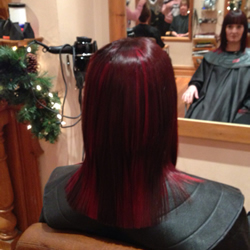 Full head permanent dark brown hair colour with really vibrant red slices in foils through to add texture, back view.