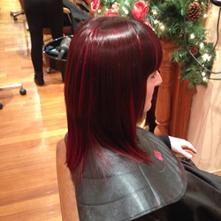 Full head permanent dark brown hair colour with really vibrant red slices in foils through to add texture, right profile view