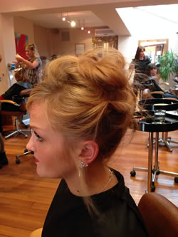 Relaxed up do. Left profile.