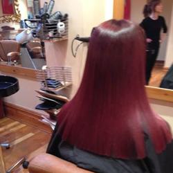 Rich, vibrant shade of red with a high gloss finish showing the results of perfectly conditioned hair. Back.