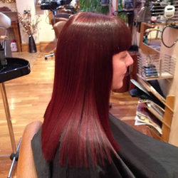 Rich, vibrant shade of red with a high gloss finish showing the results of perfectly conditioned hair. Right profile.